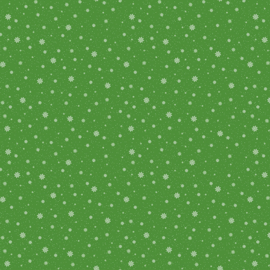Double Decker Christmas Fabric Collection- Snowflakes on Green
