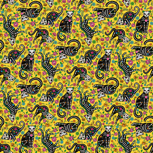 Nine Lives Fabric Collection - Cats on Yellow