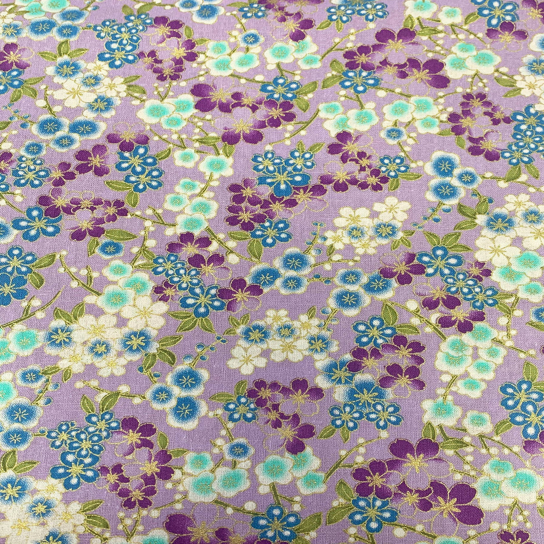 Metallic Oriental - Small Floral on Lilac - Cotton Print Fabric - per half metre