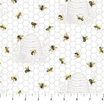 Chelsea Fabric Collection - Bees on Sketched Bee Hives