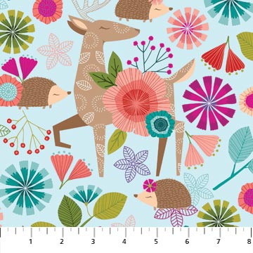 Forest Frolic Fabric Collection - Animal Allover Turquoise Multi