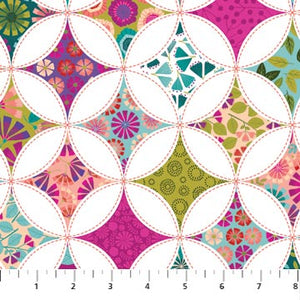 Forest Frolic Fabric Collection - Cathedral Window Pink Multi