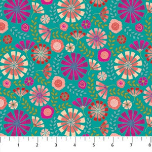 Forest Frolic Fabric Collection - Small Floral Teal Multi