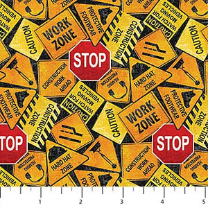 Construction Zone Fabric Collection - Tossed Signs Black Orange