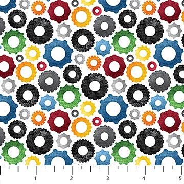 Construction Zone Fabric Collection - Coloured Wheels Gray Multi
