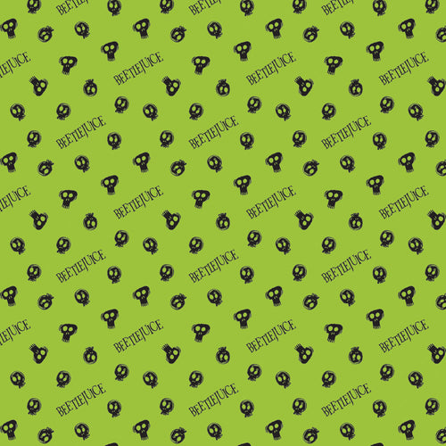 Beetlejuice Cotton Print - Beetlejuice Skulls on Green