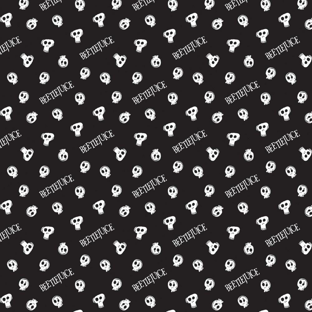 Beetlejuice Cotton Print - Beetlejuice Skulls on Black