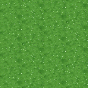 Santa Stop Here Cotton Print - Snow Spot on Green