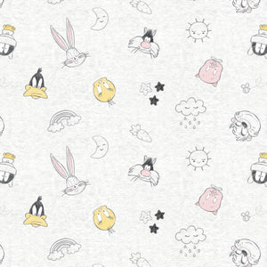Looney Tunes - Little Dreamer Cotton Print - Character Heads and Clouds on Off White