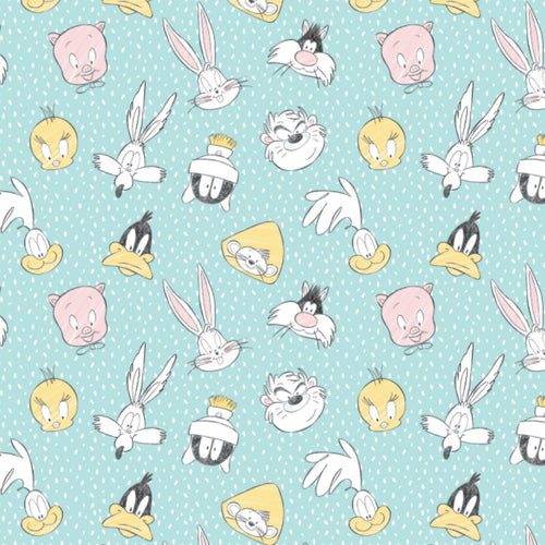 Looney Tunes - Little Dreamer Cotton Print - Character Heads on Mint Green