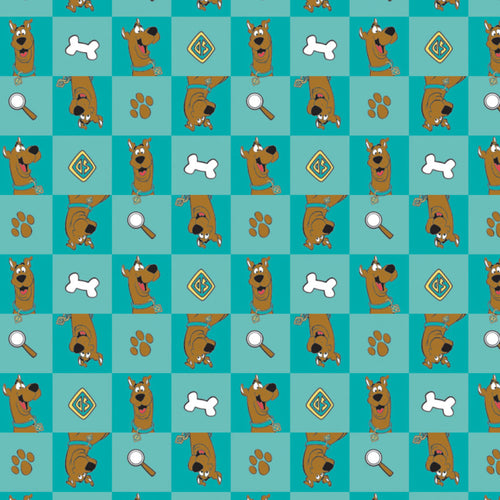 Scooby Doo Cotton Print - Scooby-Doo Checked Icons on Teal - per half metre