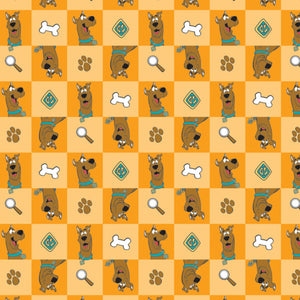 Scooby Doo Cotton Print - Scooby-Doo Checked Icons on Orange
