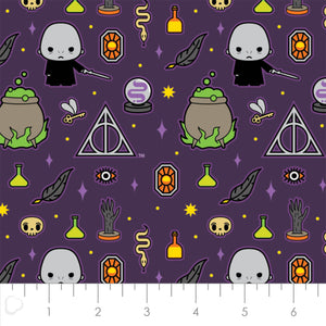 Harry Potter Halloween Cotton Print - Kawaii Dark Arts in Purple