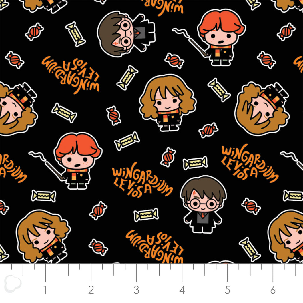 Harry Potter Halloween Cotton Print - Hogwarts Halloween in Black