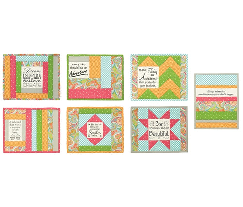 Quilt As You Go Pre Printed Wadding Pack - Mug Mats - Uplifting