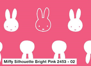 Miffy Cotton Fabric - Miffy Silhouette on Bright Pink