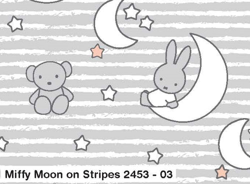 Miffy Cotton Fabric - Moon on Stripes