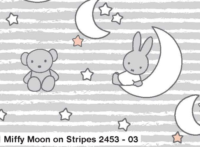 Fabric Remnant - Miffy Grey Stripe