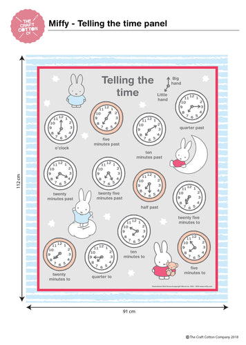 Miffy - Telling the Time Fabric Panel
