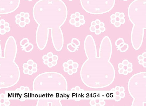 Miffy Cotton Fabric - Miffy Silhouette in Baby Pink
