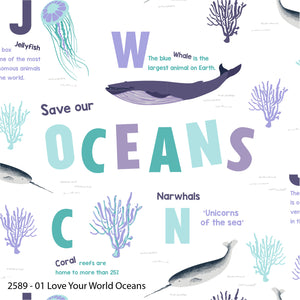 Love Your World - Oceans - per half metre