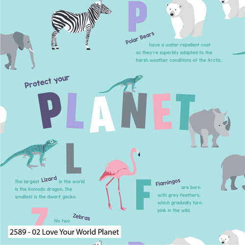 Love Your World - Planet - per half metre
