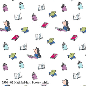 Matilda Fabric Collection - Multi Books on White - per half metre