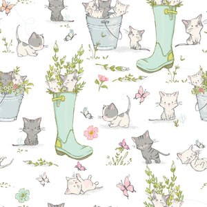 Playful Kitten Cotton Print - Boot