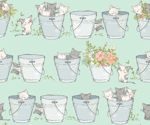 Playful Kitten Cotton Print - Buckets - per half metre