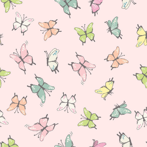 Playful Kitten Cotton Print - Butterfly