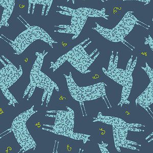 Fabric Remnant - Alpaca Picnic - Alpacas on Navy