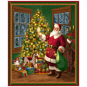 Christmas Eve - Santa Cotton Fabric Panel