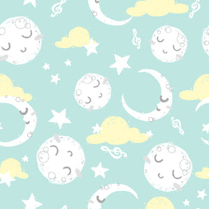 Goodnight Cotton Print - Moons on Mint