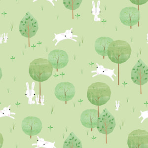 Playful Farm Cotton Print - Trees Green