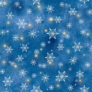 Woodland Cuties Fabric Collection - Snowflakes on Navy Blue - by Sarah Summers