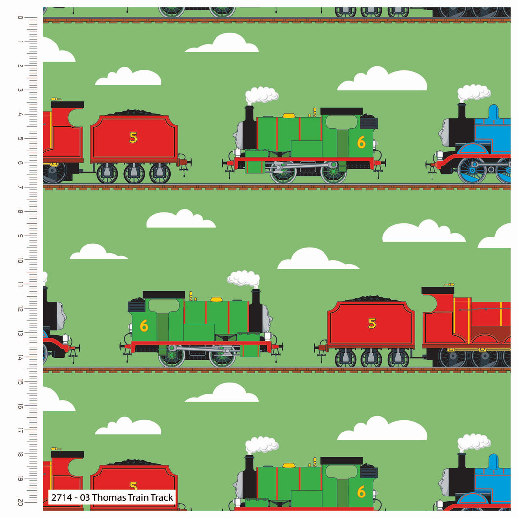 Thomas and Friends Classic Cotton Print - Thomas Train Track