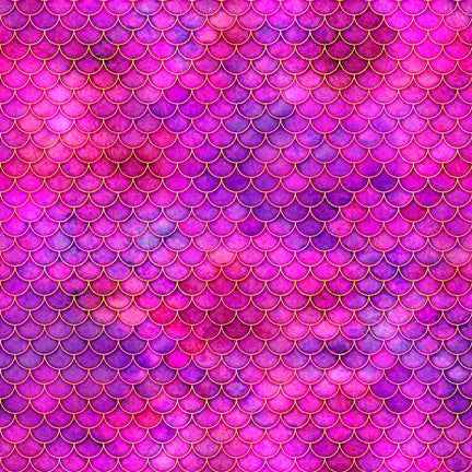 Sea Serenade Fabric Collection - Mermaid Scales on Pink - by Dan Morris