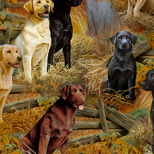 Loyal, Lovable Labs - Labrador Scenic Cotton Fabric