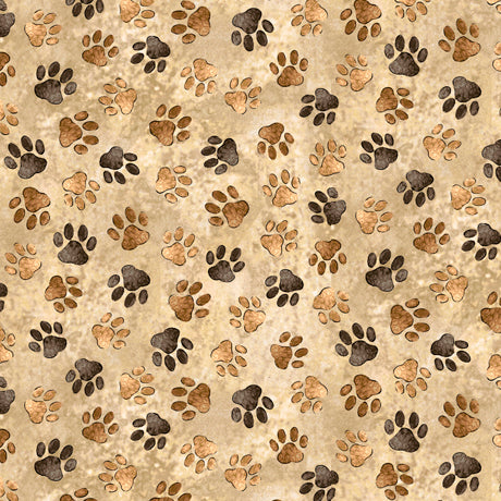Loyal, Lovable Labs - Paw Prints Tan - per half metre