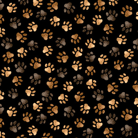 Loyal, Lovable Labs - Paw Prints Black Cotton Fabric