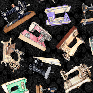 Tailor Made Fabric Collection by Dan Morris- Sewing Machines on Black