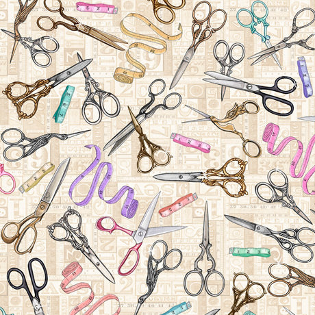 Tailor Made Fabric Collection by Dan Morris - Scissors on Cream