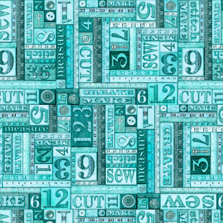 Tailor Made Fabric Collection by Dan Morris - Numbers Patch on Dark Aqua