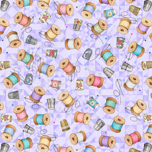 Tailor Made Fabric Collection by Dan Morris- Thimbles & Spools on Light Lilac