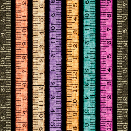 Tailor Made Fabric Collection by Dan Morris - Tape Measure Stripe on Black