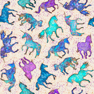 Mystical Fabric Collection - Unicorn & Stars on Natural