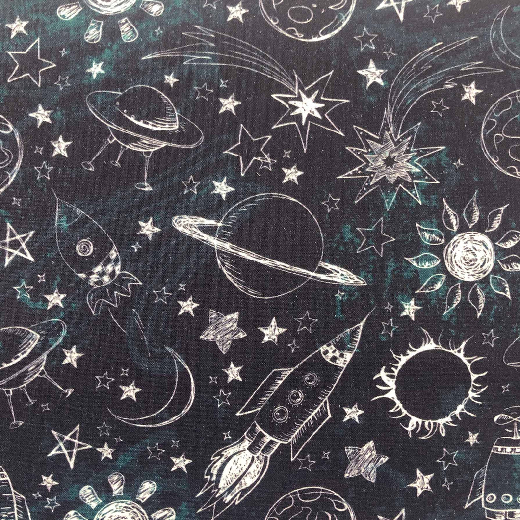 Outer Space Cotton Print - Space Sun