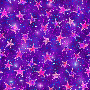 Mystical Fabric Collection - Stars on Purple