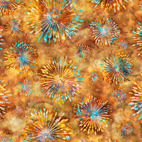Botanica Cotton Print - Sunburst on Amber