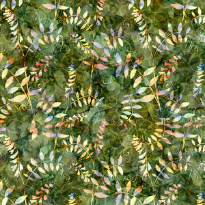 Botanica Cotton Fabric Collection - Leaf Vine on Pine